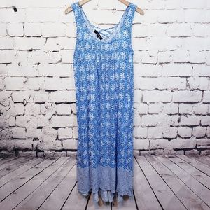 ELLEN TRACY Maxi / Blue & White Stripes & design